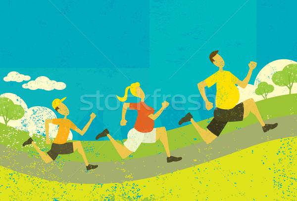 Família corrida excesso de peso forma abstrato parque Foto stock © retrostar