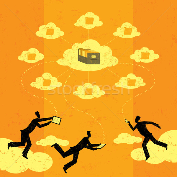 бизнесменов облаке хранения мобильных Сток-фото © retrostar