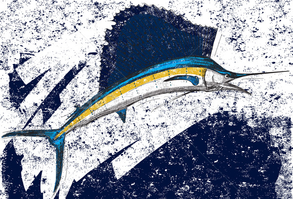 Resumen por separado peces arte animales dibujo Foto stock © retrostar