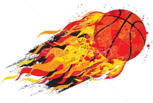 пылающий баскетбол мяча быстро пламя Splatter Сток-фото © retrostar