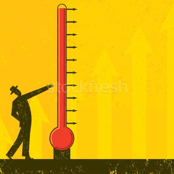 Objectif thermomètre homme progrès Photo stock © retrostar