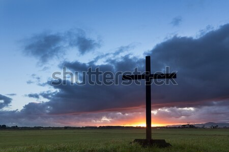 Flat Land Dawn Cross Stock photo © rghenry