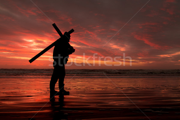Stockfoto: Rood · zonsondergang · kruis · man · strand
