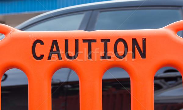 Cautela cerca laranja plástico impresso Foto stock © rghenry
