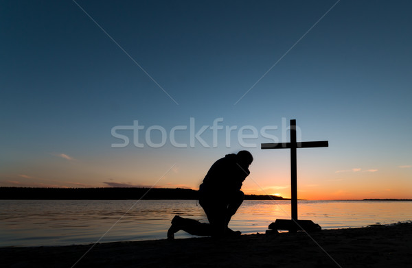 Sunset Man of Prayerfulness Stock photo © rghenry