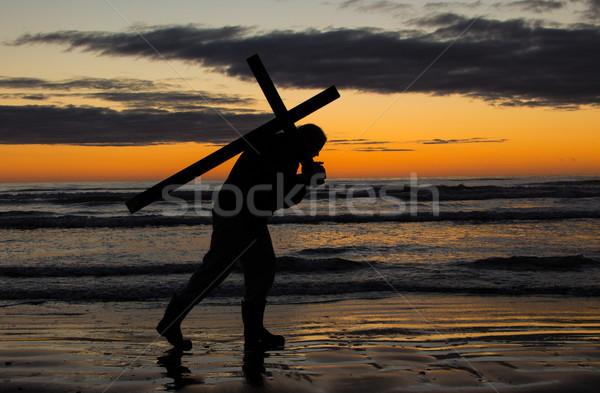Croix Retour homme plage eau dieu Photo stock © rghenry
