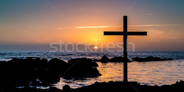 Sunset Rocks Cross Stock photo © rghenry