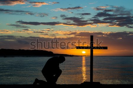 Low Tide Cross Praying Stock photo © rghenry