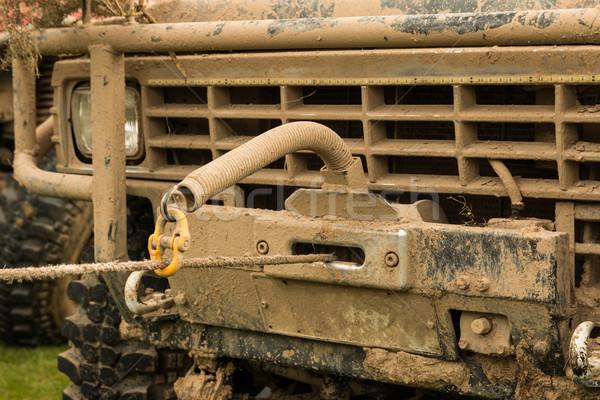 Jeep gedekt modder kabel touw Stockfoto © rghenry