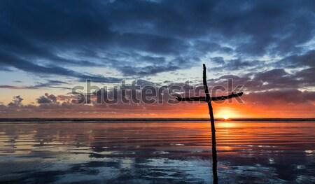 Hout zonsondergang boeg vorm paal prachtig Stockfoto © rghenry
