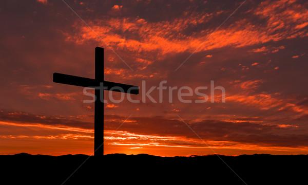 Hajnal megváltás fekete kereszt csodálatos napfelkelte Stock fotó © rghenry