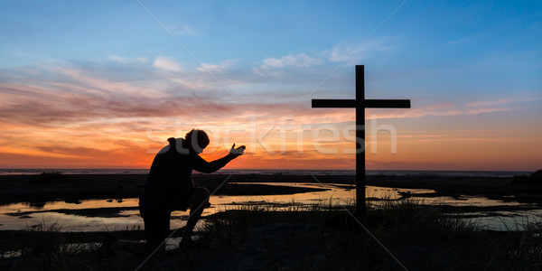 Hand of Prayer Sunset Stock photo © rghenry