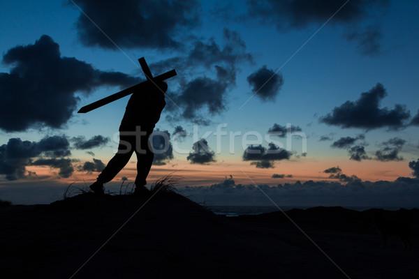 Сток-фото: крест · человека · сумерки · небе · религии