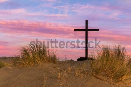 Dune de sable noir croix pied étapes Photo stock © rghenry