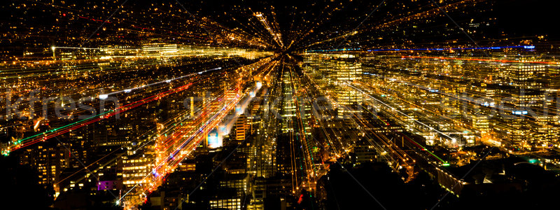 Stock fotó: Zoom · város · fények · ki · hatás · éjszaka