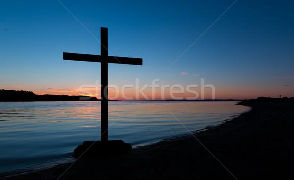 Kolory zbawienie krzyż czarny wygaśnięcia rzeki Zdjęcia stock © rghenry
