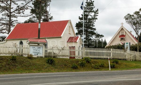 église Nouvelle-Zélande petite ville appel bois croix Photo stock © rghenry