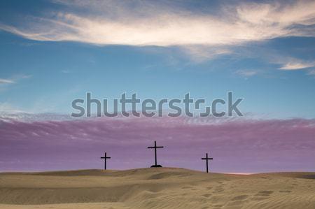Caldo tramonto lago preghiera cross uomo Foto d'archivio © rghenry