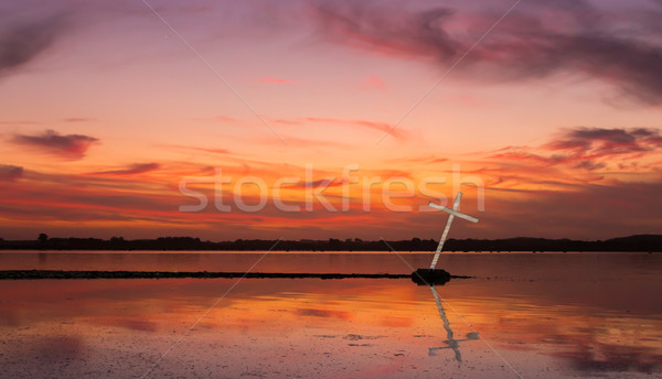 Stock photo: White Reflection Cross
