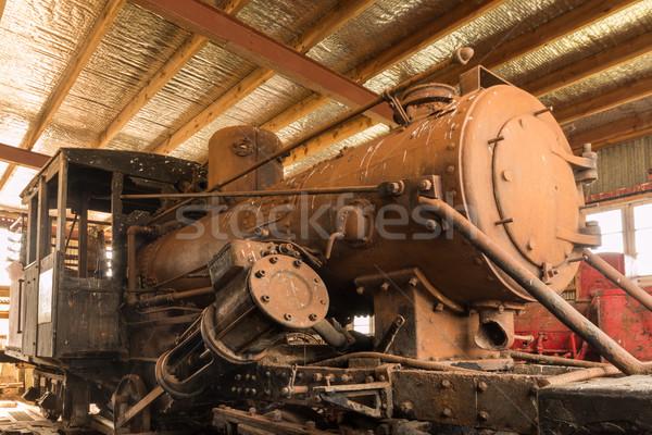 öreg gőz gép egy rozsdás vonat Stock fotó © rghenry