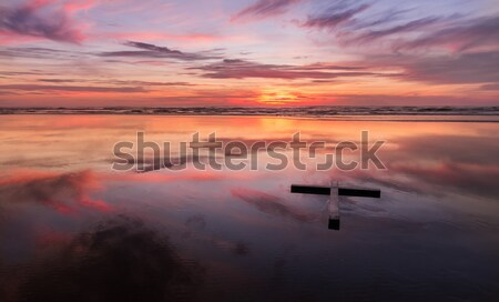Red Sunset Wet Beach Cross Stock photo © rghenry