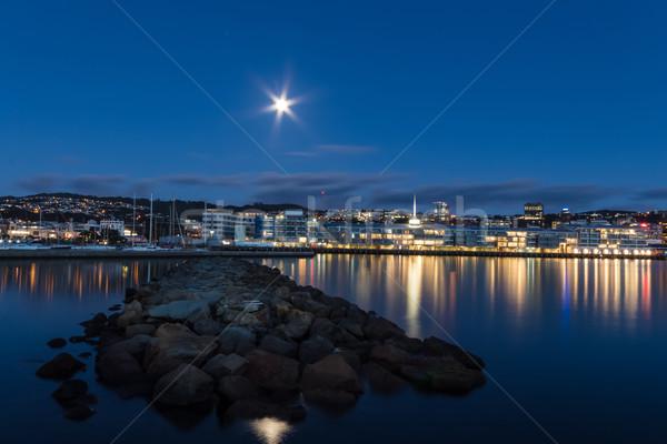 Веллингтон порт лунный свет город фары отражение Сток-фото © rghenry