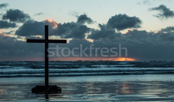 Grey Cloud Sunset Cross Stock photo © rghenry