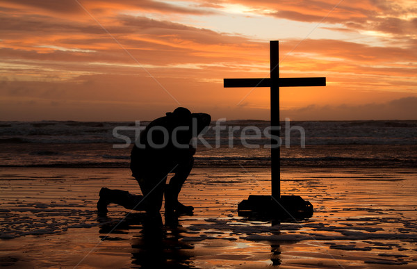 Stock photo: Bow Before Cross