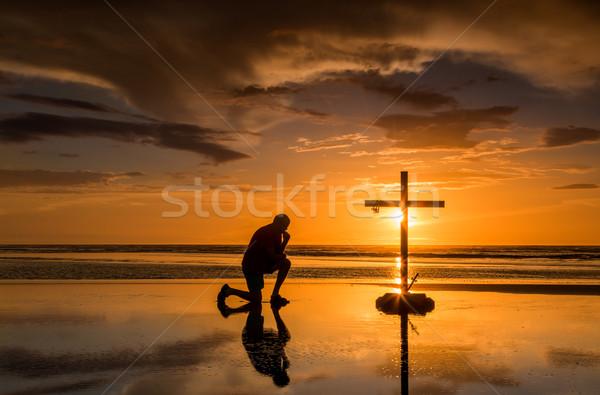 Prayful Cross Sunset Stock photo © rghenry