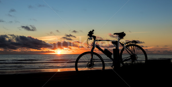 Beach Bkie Sunset Stock photo © rghenry