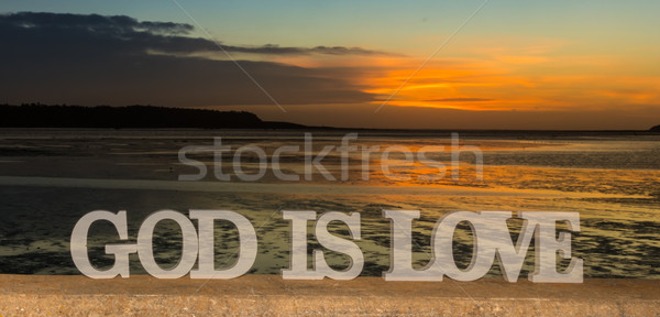 God Is Love Sunset River Stock photo © rghenry