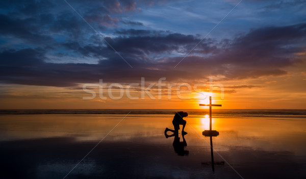 Reflecton Praying Man Cross Stock photo © rghenry