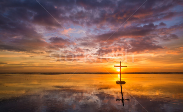Stock photo: Beautiful Suset Cross Reflecton