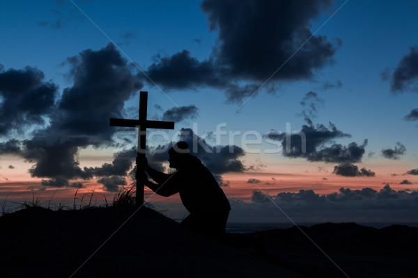 Stockfoto: Kruis · man · jesus · godsdienst