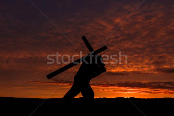Сток-фото: крест · человека · назад · рассвета