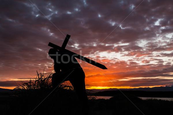 Сток-фото: Восход · крест · назад · человека · вверх
