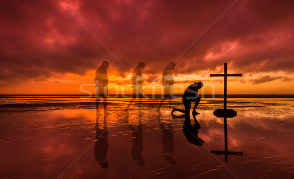 Stock photo: Kneeling Salvation Cross