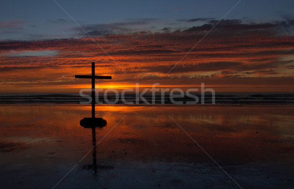 Cross Beach Reflection Stock photo © rghenry