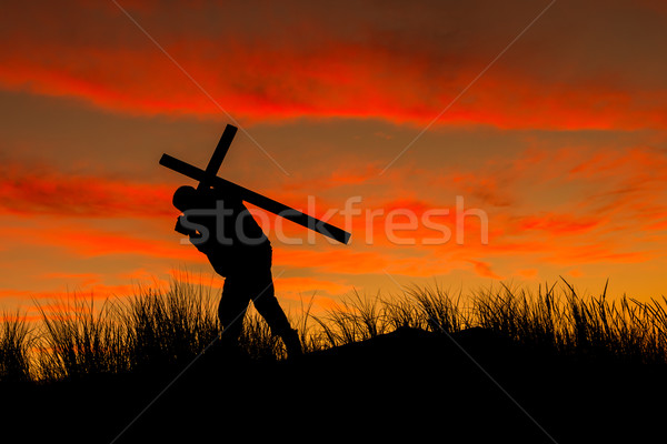 Сток-фото: крест · человека · назад · Восход