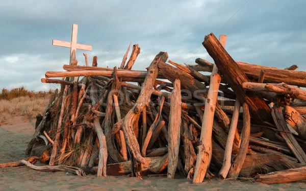 белый крест древесины Top пляж Сток-фото © rghenry