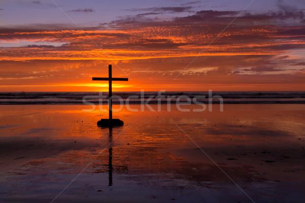 пляж закат крест солнце вниз за Сток-фото © rghenry