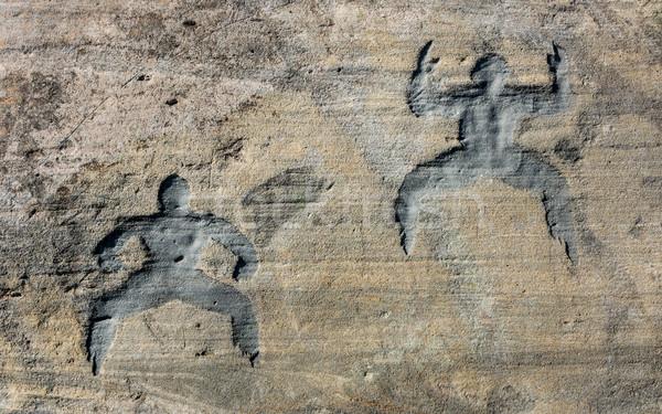 Caverna homem arte como dois homens pedra Foto stock © rghenry