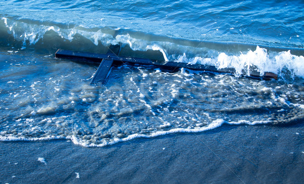 мыть крест волна стиральные черный пляж Сток-фото © rghenry