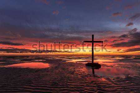 Wetlands Cross Sunset Stock photo © rghenry