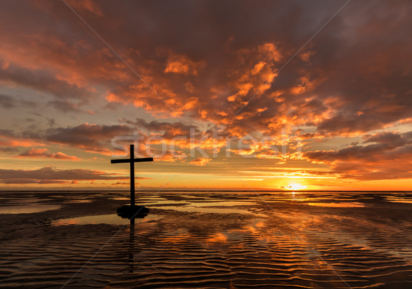 Low Tide Salvation Cross Stock photo © rghenry