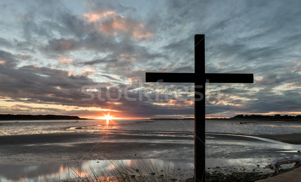 River Mouth Cross Sunset Stock photo © rghenry