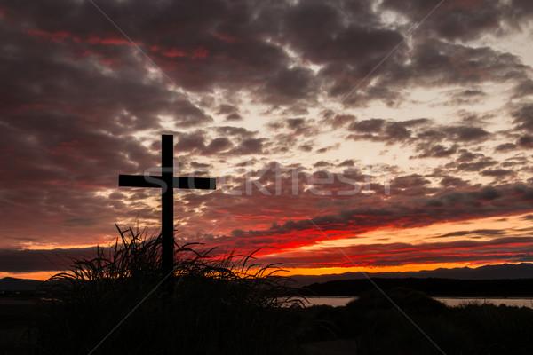 кровь красный небе крест холме утра Сток-фото © rghenry