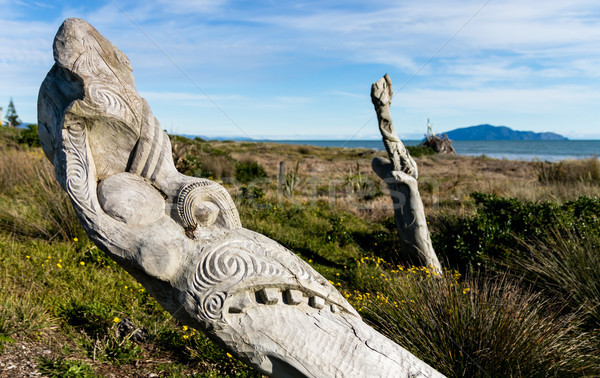 Beach Maori Carving Stock photo © rghenry
