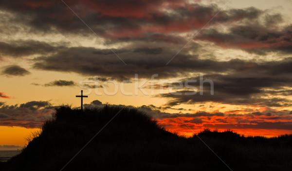 Gün batımı kumul çapraz plaj kumu güneş plaj Stok fotoğraf © rghenry