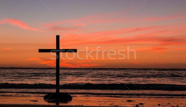 Black Cross Beach Sky Stock photo © rghenry
